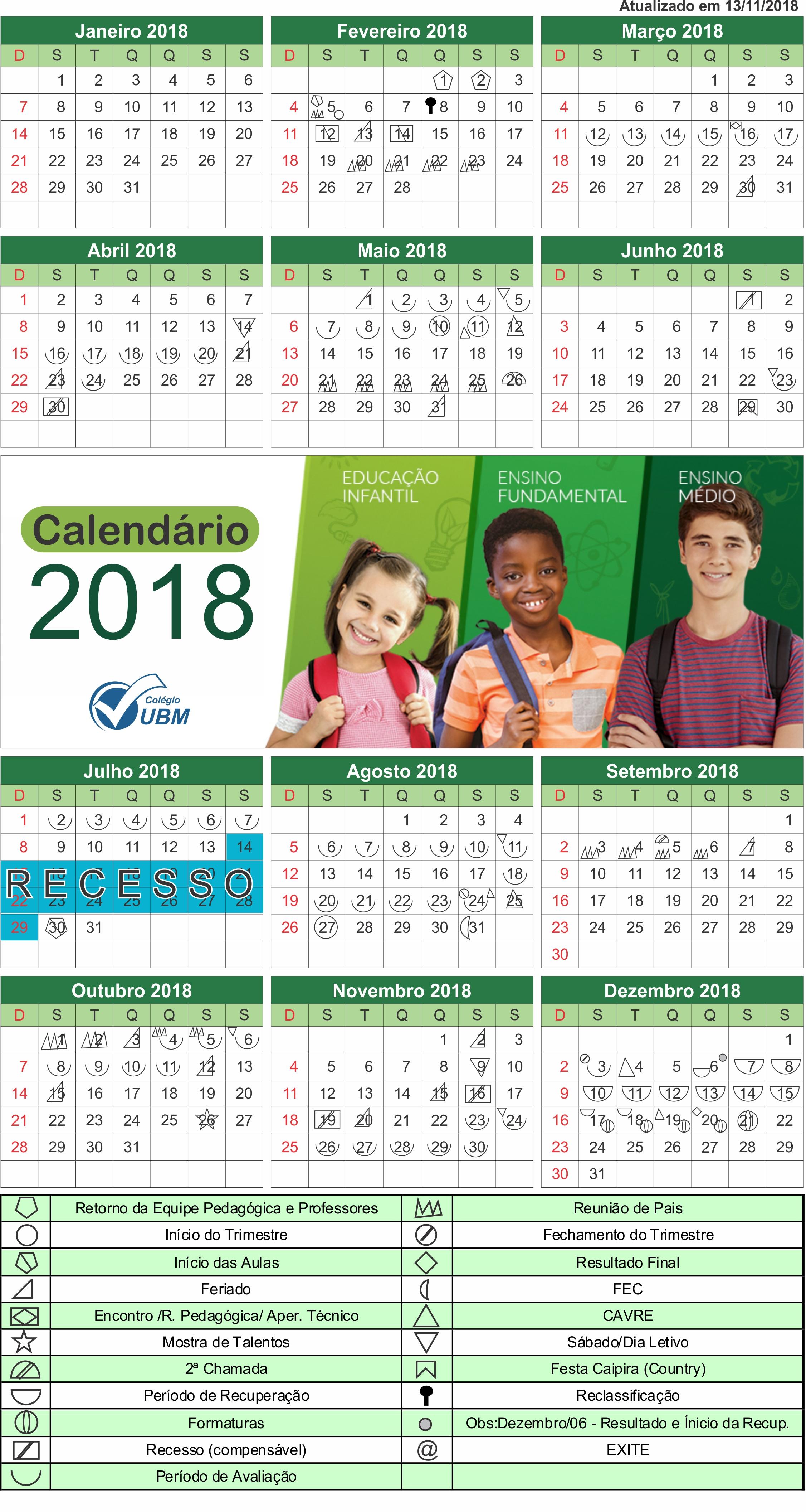 Calendário de Símbolos 2018