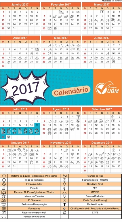 Calendários de Simbolos 2017 ATUAL
